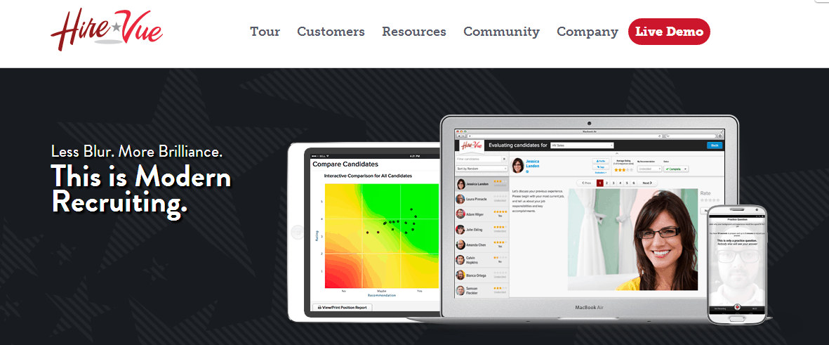HireVue Homepage Screen Image